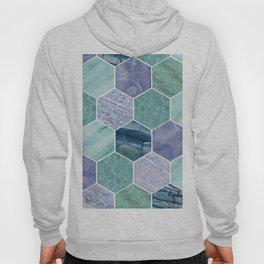 Mixed greens & blues - marble hexagons Hoody