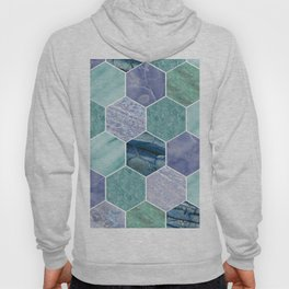 Mixed greens & blues - marble hexagons Hoody