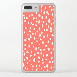 Living Coral - White Polka Dots, Spots Clear iPhone Case