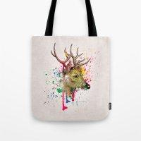 deer Tote Bags featuring deer by mark ashkenazi