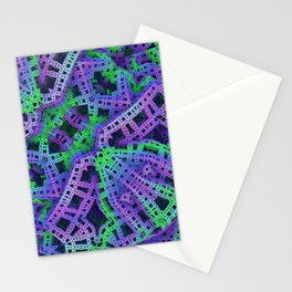 Green and purple film ribbons Stationery Cards