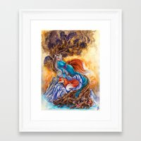 kitsune Framed Art Prints featuring Kitsune by Nemeth Alina