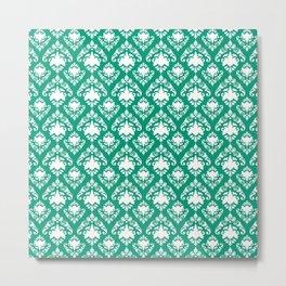 Emerald Damask Metal Print