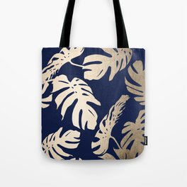 Simply Palm Leaves in White Gold Sands on Nautical Navy Tote Bag
