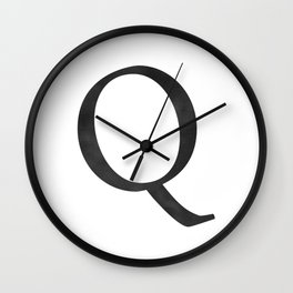 Letter Q Initial Monogram Black and White Wall Clock