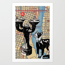 Benson Bubbler drinking fountain, S.W. Broadway and Oak Street, You Are Here, Portland. Art Print