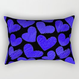 Sketchy hearts in dark blue and black Rectangular Pillow