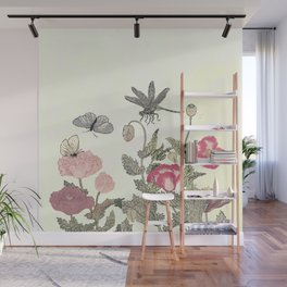 Butterfly and flowers -The Still Point Wall Mural