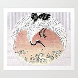 Crane and Wave Art Print