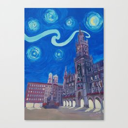 Starry Night In Munich - Van Gogh Inspirations with Church of Our Lady and City Hall Canvas Print