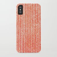 party iPhone & iPod Cases featuring Stockinette Orange by Elisa Sandoval