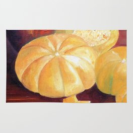 Composition with pumpkins Rug