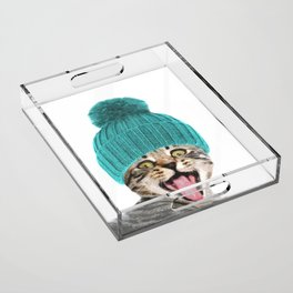 Cat with hat illustration Acrylic Tray