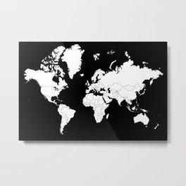 Minimalist World Map White on Black Background. Metal Print