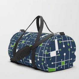 Intersecting Lines in Navy, Lime and White Duffle Bag