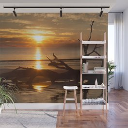 Sunrise with Driftwood Wall Mural