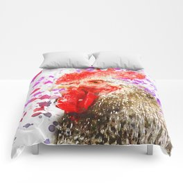 Rooster Watercolor, Painted Roost Art, Cool Chicken, Splatter Rooster Design, Rooster Decor Comforters