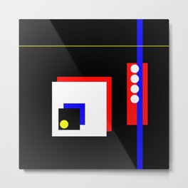 Traffic Jam - Abstract, minimalist, geometric, artwork in primary colours and black and white Metal Print