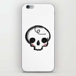 My Skully Friend - digital mixed media illustrated skeleton iPhone Skin