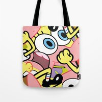 spongebob Tote Bags featuring Spongebob by Startled Artist
