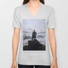 Wanderer above the Sea of Fog - Caspar David Friedrich Unisex V-Neck
