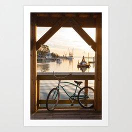 Shem Creek Bike Art Print