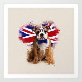 English Bulldog Puppy in Glasses Art Print