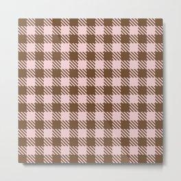 Plaid Pattern 513 Brown and Pink Metal Print