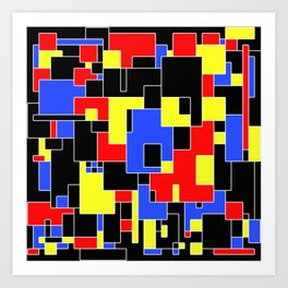 Primary Plans - Abstract, geometric map in primary colours Art Print