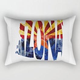 Arizona Typographic Flag Map Art Rectangular Pillow