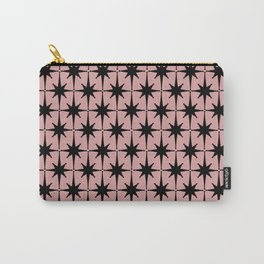 Atomic Age 1950s Retro Starburst Pattern in Black and 50s Dusty Blush Pink Carry-All Pouch