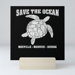 Vintage Save The Sea Turtles Animal Right Turtle Mini Art Print