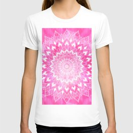 Boho chic white floral mandala on neon pink watercolor tie dye T-shirt