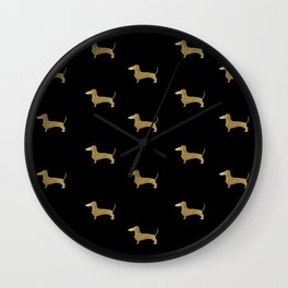 Dachshund Dog Gold Glitter Pattern Wall Clock