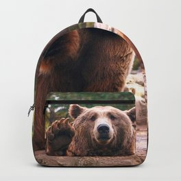 Spectecular Group Gracious Grizzly Bears Sitting In Habitat Waving At Camera Ultra HD Backpack