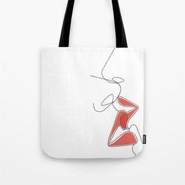 One-Line Kiss Tote Bag