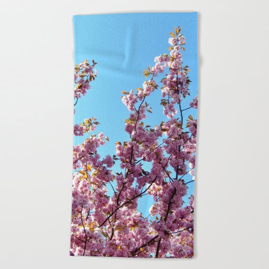 spring pink  blossoms Beach Towel