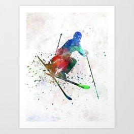 woman skier freestyler jumping Art Print