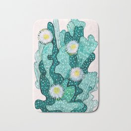 Blooming Cactus  turquoise teal Bath Mat