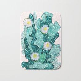 Blooming Cactus  turquoise teal Bath Mat