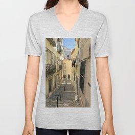 Narrow Alleyway in Lisbon, Portugal Unisex V-Neck