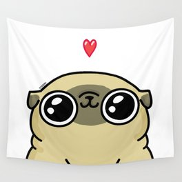 Mochi the pug loves you Wall Tapestry