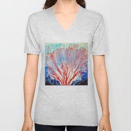 Sea Garden Ocean Coral Sea Creature with Blue and Aqua Seafoam Unisex V-Neck