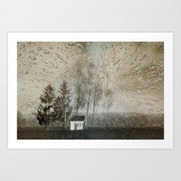 Concept landscape : Chapel in the rain Art Print
