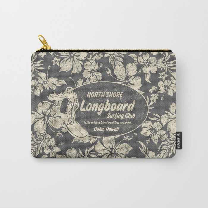 Club Surfing Longboard Logo and Hibiscus Hawaiian Print  Carry-All Pouch