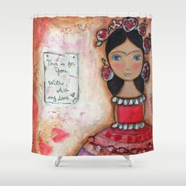 Frida in Rose by Flor Larios Shower Curtain