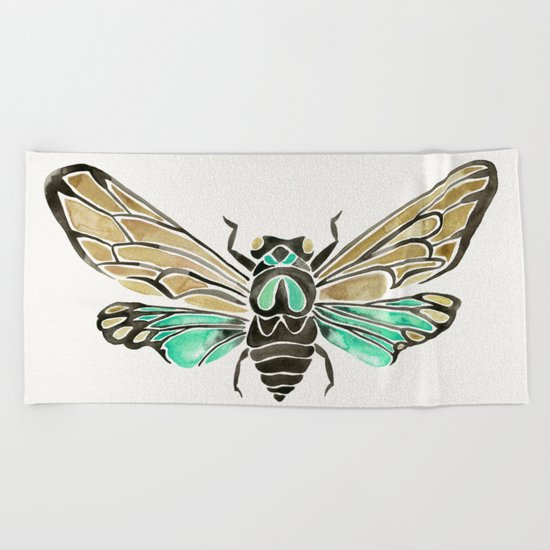 Summer Cicada – Mint & Tan Palette Beach Towel