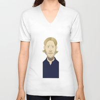 brad pitt V-neck T-shirts featuring Brad Pitt (World War Z) by Bady Church