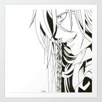kuroshitsuji Art Prints featuring Kuroshitsuji Undertaker by Reira Hoshikuzu