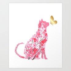 Cherry Blossom Cat Art Print